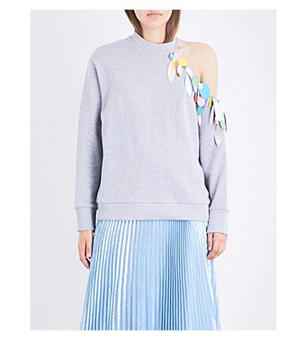 CHRISTOPHER KANE Sequin-embellished cotton-jersey sweatshirt (L+grey+melange+pf17