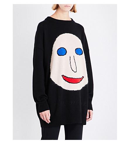 CHRISTOPHER KANE Face wool-blend jumper (Black