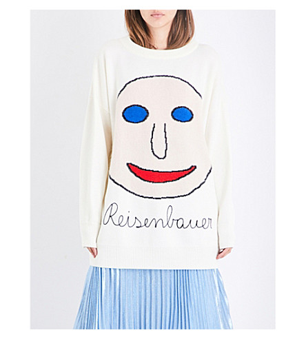 CHRISTOPHER KANE Face wool-blend jumper (Natural+white