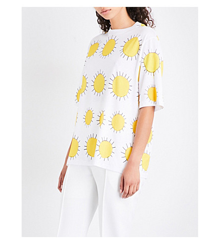 CHRISTOPHER KANE Sunshine-print cotton-jersey T-shirt (White+yellow