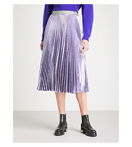 CHRISTOPHER KANE Pleated metallic silk-blend midi skirt (Lilac