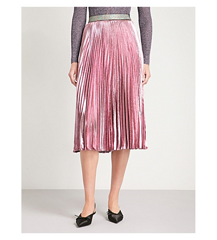 CHRISTOPHER KANE Pleated metallic silk-blend midi skirt (Pink