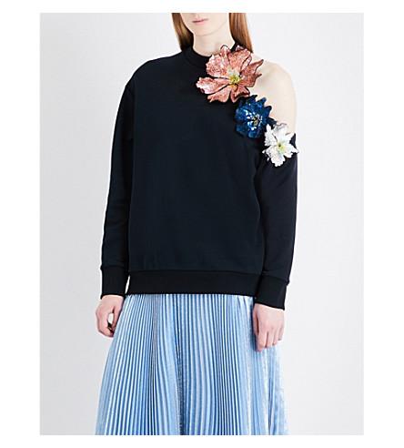 CHRISTOPHER KANE Sequinned floral-appliqué cotton-jersey sweatshirt (Black