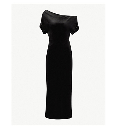 CHRISTOPHER KANE Asymmetric velvet dress (Black
