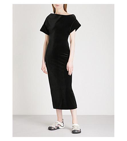 CHRISTOPHER KANE Asymmetric velvet dress (Black