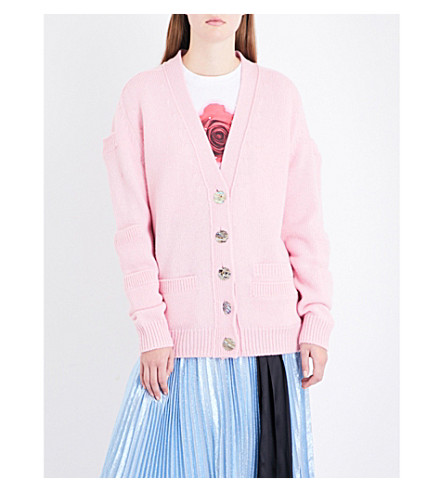 CHRISTOPHER KANE Patch pocket-sleeve virgin wool cardigan (Pink+multi