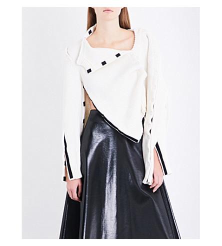 CHRISTOPHER KANE Hook-and-loop virgin wool cardigan (Cream