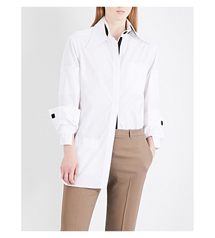 CHRISTOPHER KANE Convertible-collar cotton-poplin shirt (White