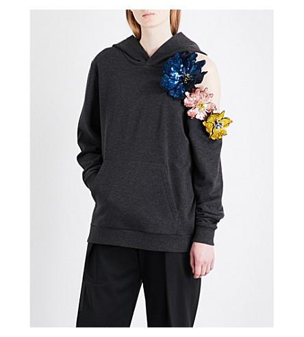 CHRISTOPHER KANE Sequinned floral-appliqué cotton-jersey hoody (Gunmetal