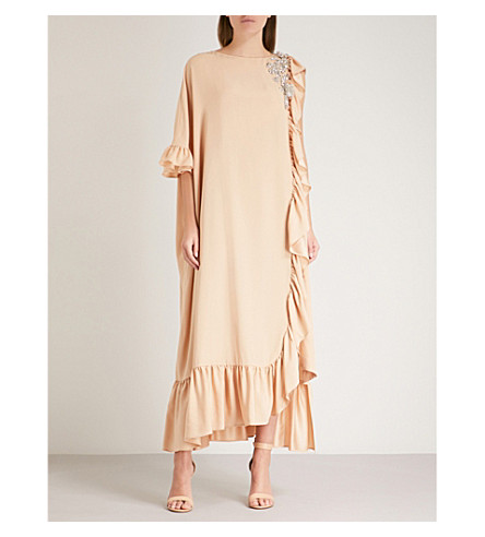 CHRISTOPHER KANE Crystal-embellished asymmetric crepe midi dress (Nude