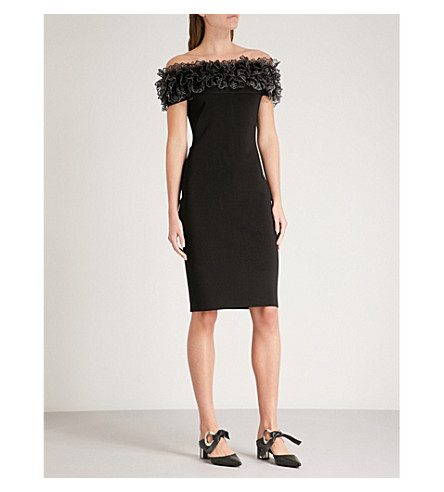 CHRISTOPHER KANE Ruffled off-the-shoulder stretch-knit dress (Black