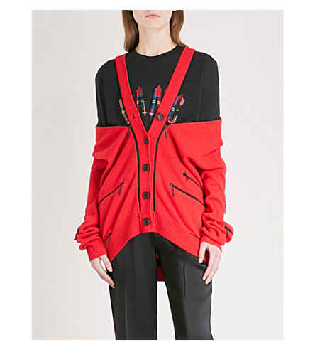 CHRISTOPHER KANE Zip-detailed cashmere cardigan (Red