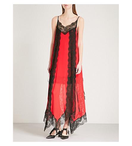 CHRISTOPHER KANE Layered lace-trim silk-chiffon dress (Red