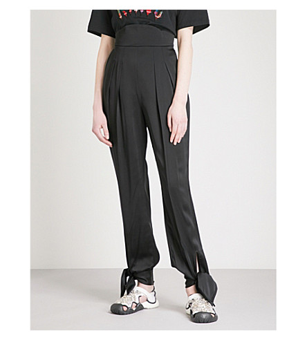 CHRISTOPHER KANE Tie ankle high-rise straight satin trousers (Black