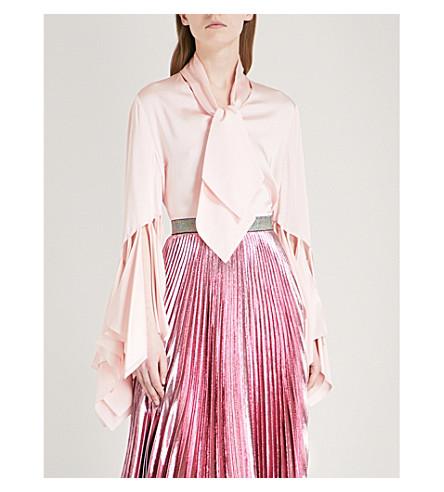 CHRISTOPHER KANE Rag-sleeve satin blouse (Pink