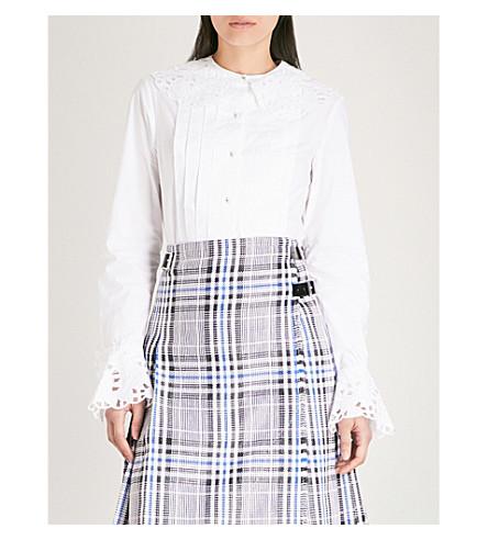 CHRISTOPHER KANE Scalloped-trim cotton-poplin shirt (White