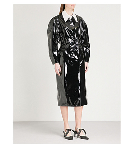 CHRISTOPHER KANE Puff-sleeve patent leather coat (Black