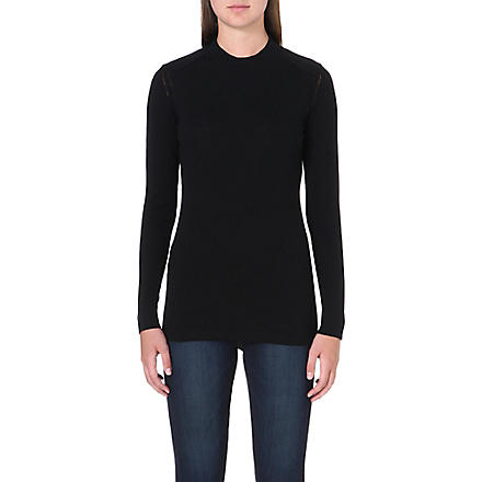 BARBOUR Long-sleeved wool jumper (Black