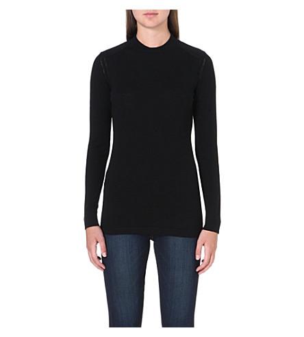 BARBOUR Long-sleeved wool jumper (Black