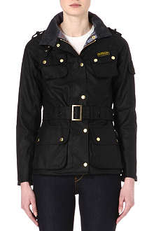 BARBOUR International waxed-cotton biker jacket