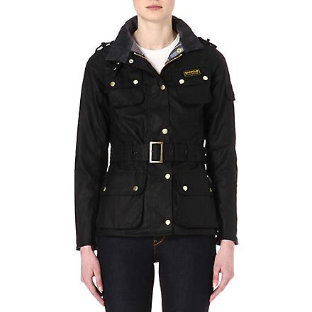BARBOUR International waxed-cotton biker jacket (Black