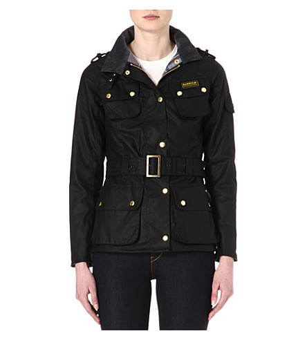 BARBOUR International waxed-cotton biker jacket (Black
