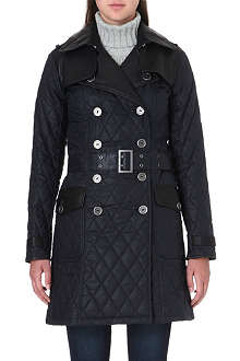 BARBOUR Quilted waxed-cotton trench coat