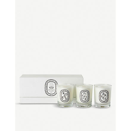 DIPTYQUE Baies, Figuier and Roses mini candles 3 x 70g