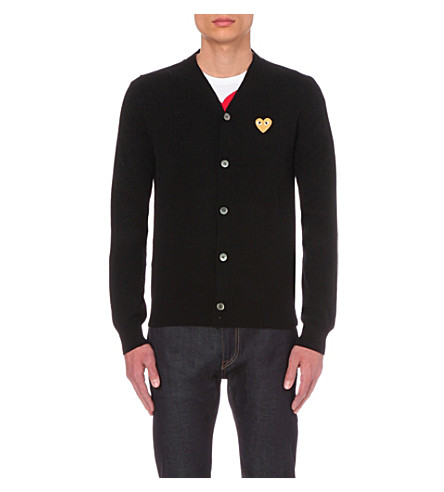 COMME DES GARCONS PLAY play gold heart wool cardigan (Black