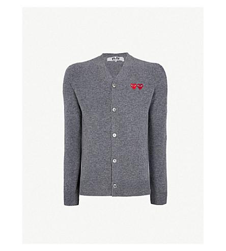 COMME DES GARCONS PLAY 心-appliquéd 羊毛开襟衫 (灰色