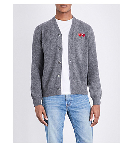 COMME DES GARCONS PLAY Heart-appliquéd wool cardigan (Grey
