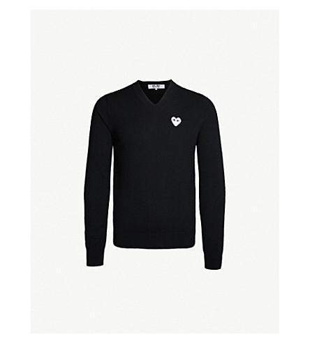 COMME DES GARCONS PLAY Heart-appliqué wool sweater (Black