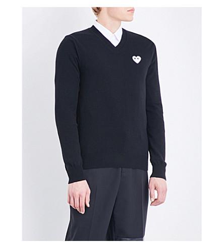 COMME DES GARCONS PLAY Heart-appliqué wool jumper (Black