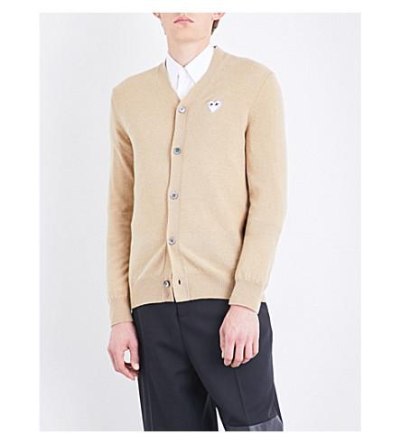 COMME DES GARCONS PLAY Heart-appliqué wool cardigan (Camel