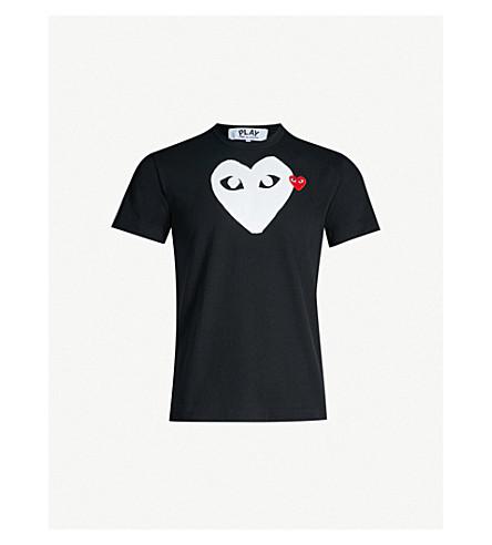 COMME DES GARCONS PLAY Heart-logo cotton-jersey T-shirt (Black