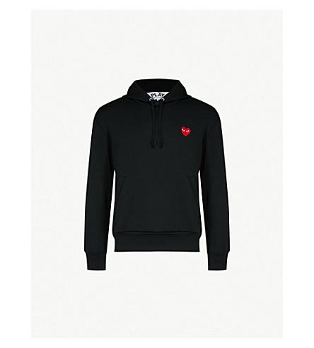 COMME DES GARCONS PLAY Heart-appliquéd stretch hoody (Black