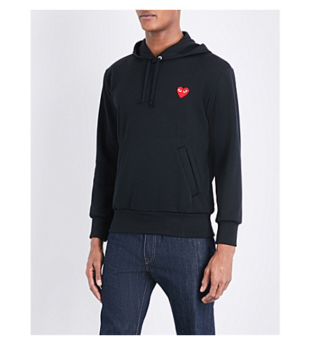 COMME DES GARCONS PLAY Heart-appliquéd stretch hoody (Black