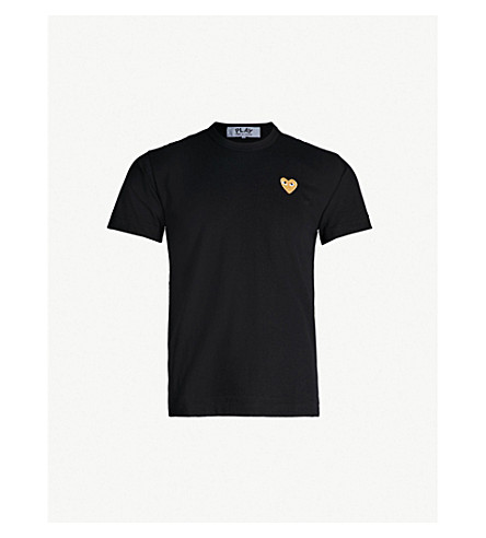 COMME DES GARCONS PLAY Logo-embroidered cotton-jersey T-shirt (Black