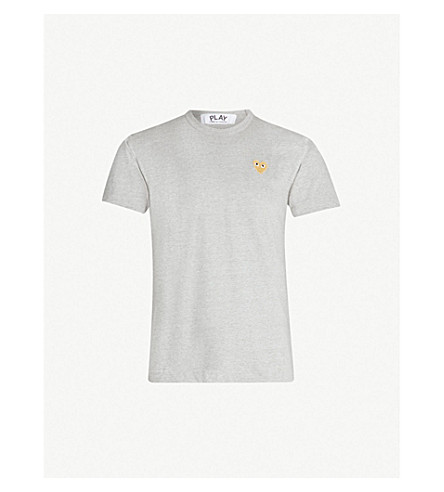 COMME DES GARCONS PLAY Logo-embroidery cotton-jersey t-shirt (Grey