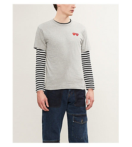 COMME DES GARCONS PLAY Heart-embroidered cotton-jersey T-shirt (Grey
