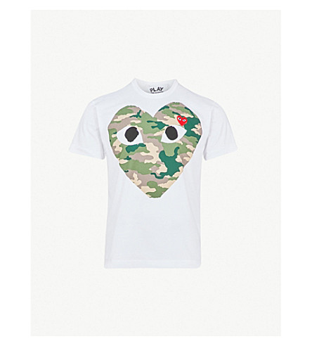 COMME DES GARCONS PLAY Big heart camouflage cotton-jersey T-shirt (White