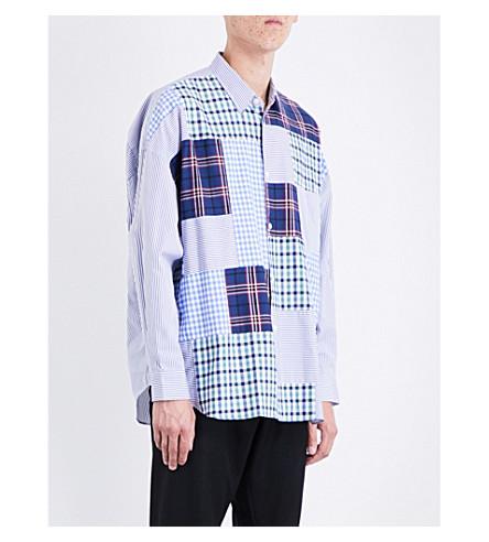 COMME DES GARCONS BOY Tartan patchwork oversized cotton shirt (Stripe+3