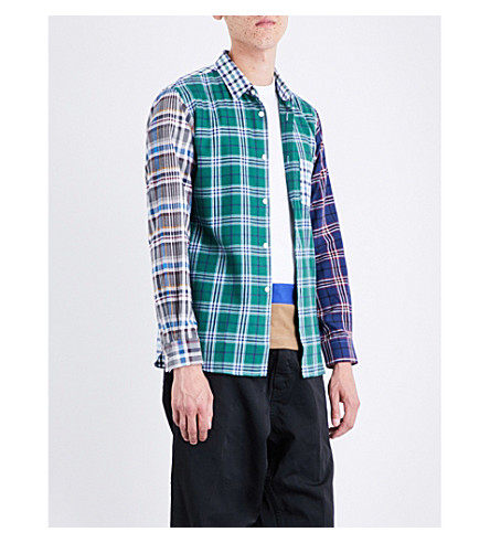 COMME DES GARCONS BOY Half-tartan regular-fit cotton-flannel shirt (Blue+green