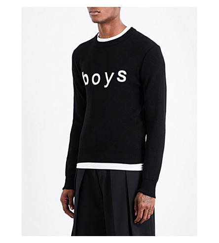 COMME DES GARCONS BOY Boys-print fine-knit jumper (Black