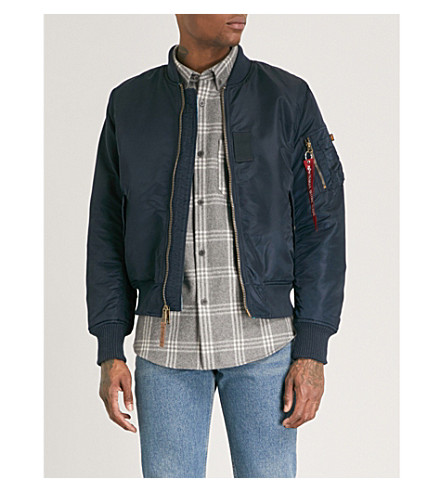 ALPHA INDUSTRIES Camouflage-print reversible shell bomber jacket (Blue