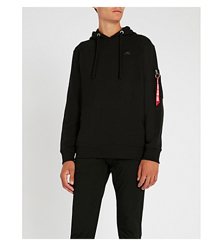 ALPHA INDUSTRIES Logo-embellished cotton-jersey hoody (Black