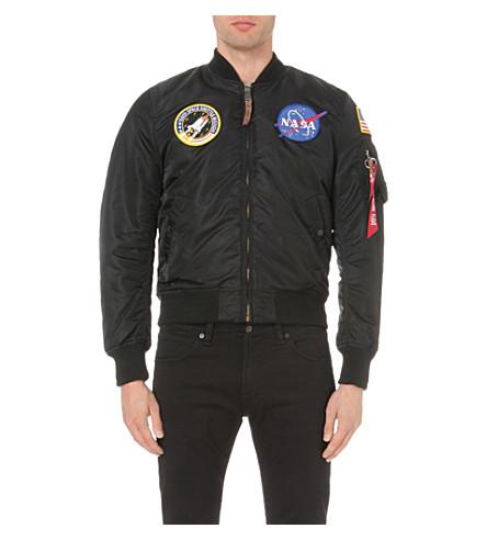 ALPHA INDUSTRIES NASA MA-1 satin flight jacket (Black