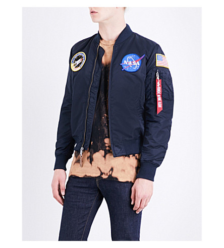 ALPHA INDUSTRIES NASA MA-1 satin flight jacket (Repl+blue