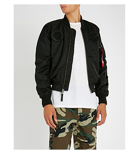 ALPHA INDUSTRIES MA-1 Badge embroidered shell bomber jacket