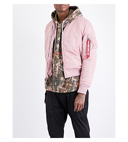 ALPHA INDUSTRIES Zip-up shell bomber jacket (Silver+pink